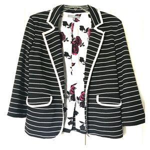 Cute black and white stripe blazer.